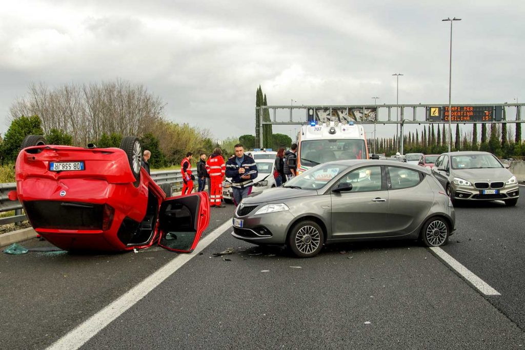 Road accident caused by car crash