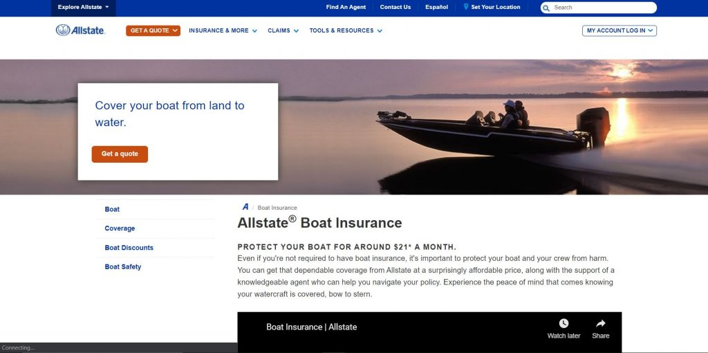 Allstate website home page
