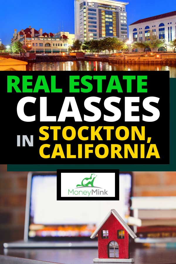 Collage of Stockton, California and a house toy on a table with laptop computer
