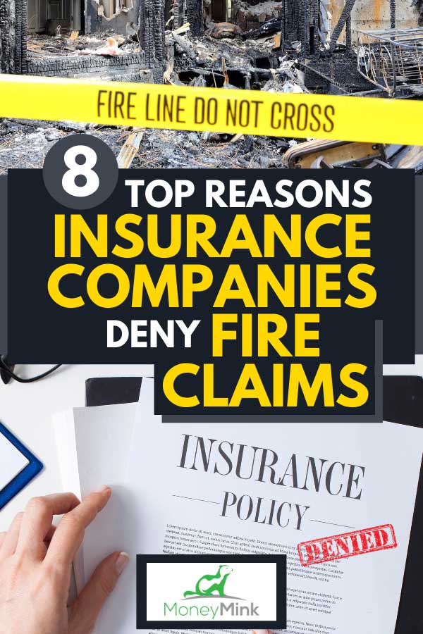 Collage of a house that has been fully destroyed by a fire and denied insurance document, 8 Top Reasons Insurance Companies Deny Fire Claims