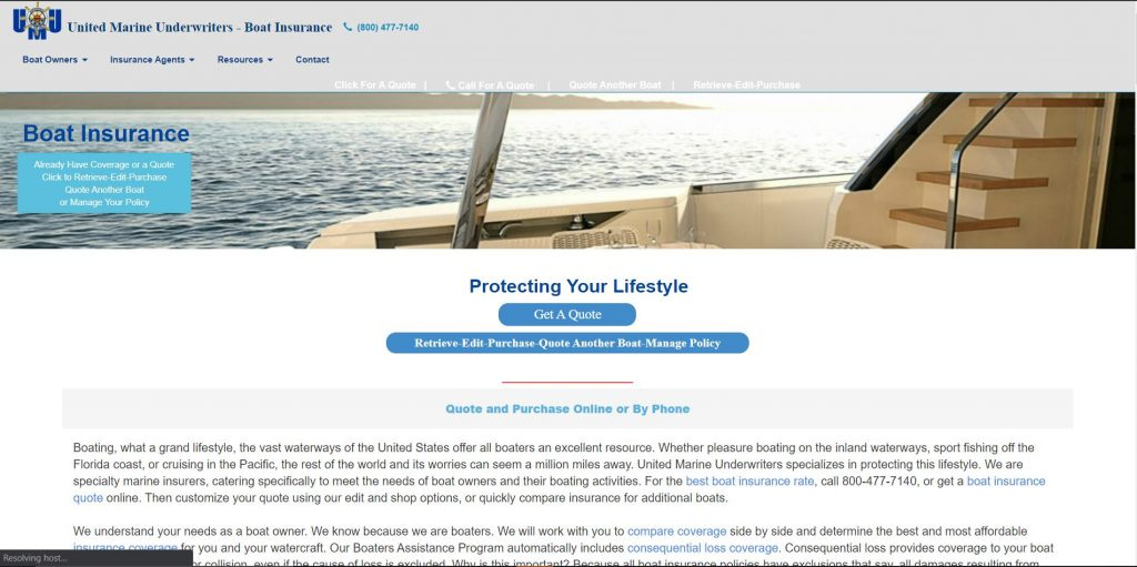 United Marine website homepage