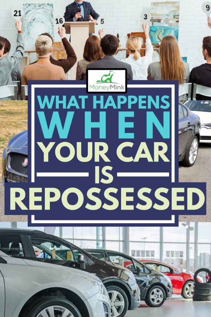 A collage of man auctioning repossessed car, What Happens When Your Car Is Repossessed