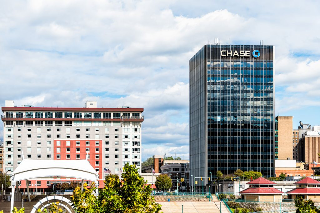 View of the chase bank building photographed on a sunny day